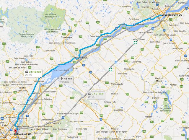 Montreal - Quebec Yol Güzergahımız