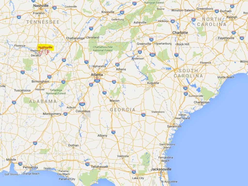 Huntsville - Alabama hariratadaki konumu...